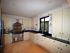 kitchen with black granite